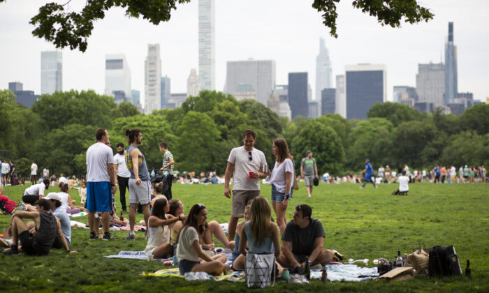 People gather in Central Park in New York City on May 22, 2021. (Kena Betancur/AFP via Getty Images)