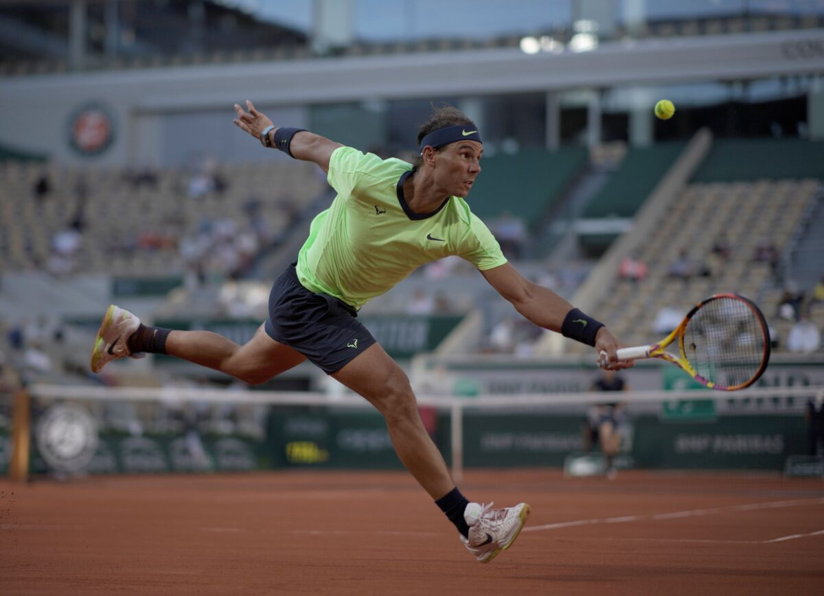 Spain's Rafael Nadal plays a return
