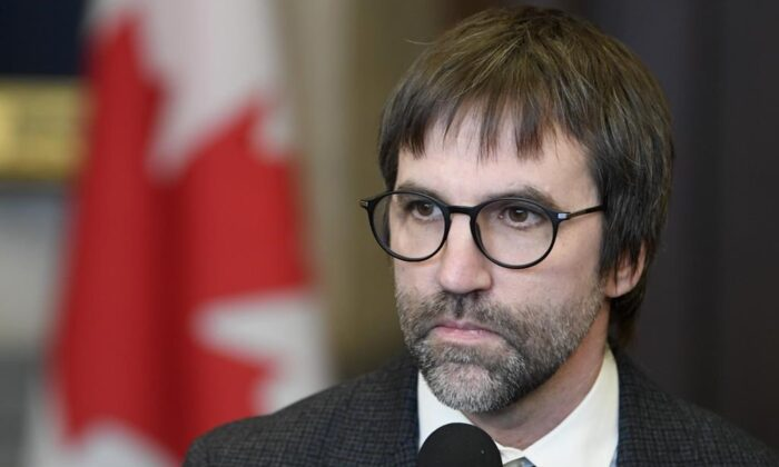 Minister of Canadian Heritage Steven Guilbeault speaks with the media in the Foyer of the House of Commons in Ottawa on Feb. 3, 2020. (Adrian Wyld/The Canadian press)