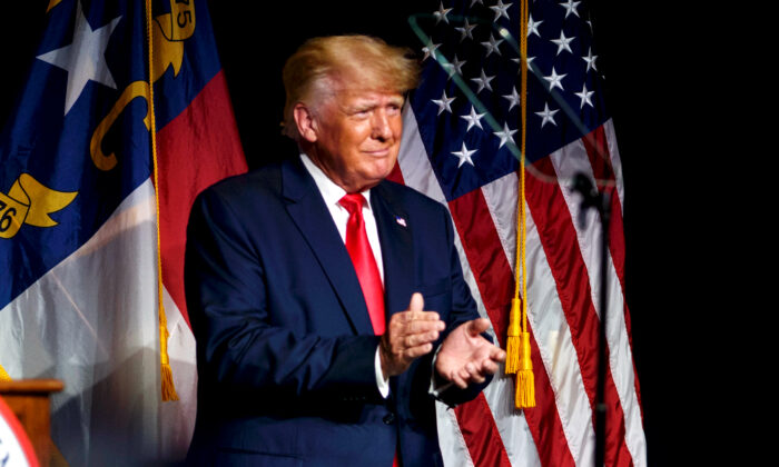 Former President Donald Trump addresses the North Carolina GOP state convention in Greenville, N.C., on June 5, 2021. (Melissa Sue Gerrits/Getty Images)