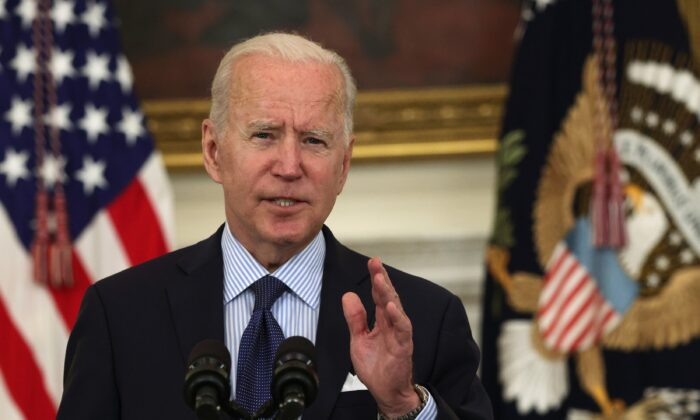 President Joe Biden delivers remarks on the COVID-19 response and the vaccination program during an event at the State Dining Room of the White House in Washington on May 4, 2021. (Alex Wong/Getty Images)
