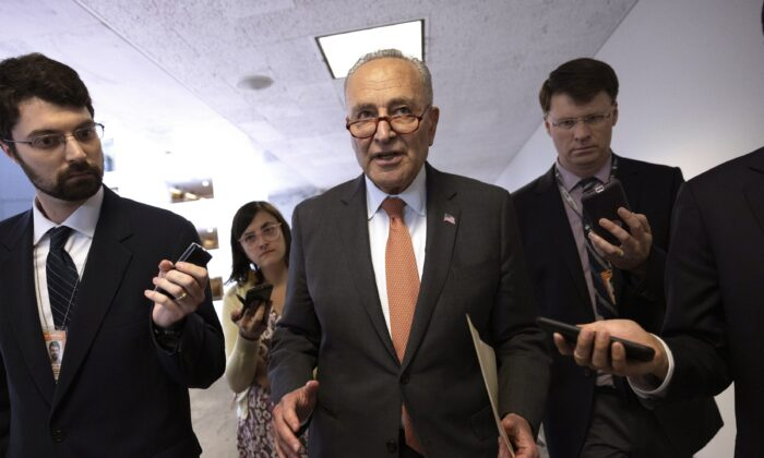 Senate Majority Leader Charles Schumer (D-N.Y.) leaves a press conference following a Senate Democratic luncheon on Capitol Hill in Washington on June 8, 2021. (Kevin Dietsch/Getty Images)