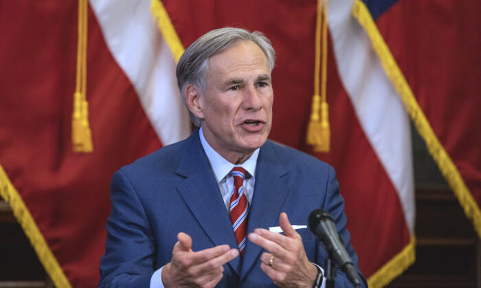 Texas Governor Greg Abbott at a press conference at the Texas State Capitol in Austin, on May 18, 2020. (Lynda M. Gonzalez/The Dallas Morning News Pool/Getty Images)