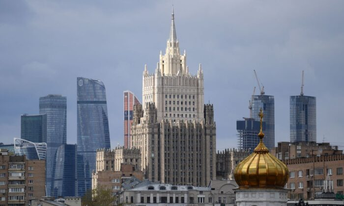 A view of the Russian Foreign Ministry headquarters in Moscow on April 29, 2021. (Natalia Kolesnikova/AFP via Getty Images)