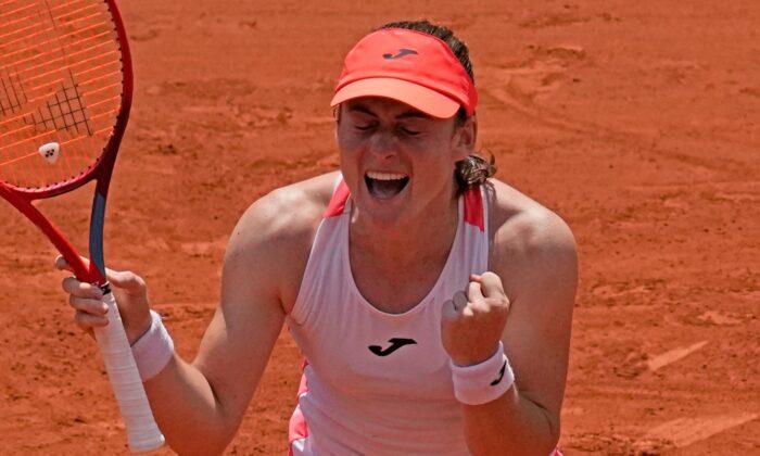 Slovenia's Tamara Zidansek clelebrates as she defeats Spain's Paula Badosa during their quarterfinal match of the French Open tennis tournament at the Roland Garros stadium, in Paris on June 8, 2021. (Christophe Ena/AP Photo)