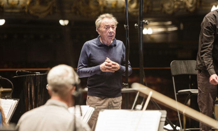 Undated photo showing Andrew Lloyd Webber during a recording session with an 80 piece orchestra at the Theatre Royal in London. (Alice Whitby/Universal Music Group via PA)