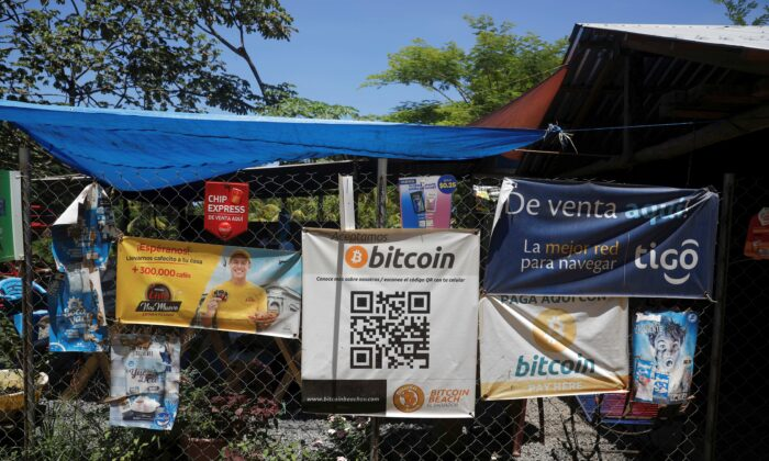 Bitcoin banners are seen outside of a small restaurant at El Zonte Beach in Chiltiupan, El Salvador, on June 8, 2021. (Jose Cabezas/File Photo/Reuters)