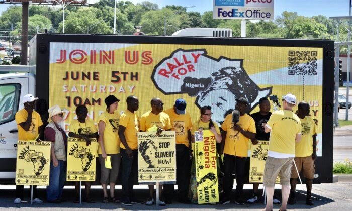 A rally held in Omaha, Nebraska, on June 5, 2021. (Courtesy of Committee to Free Nigerian Slaves)