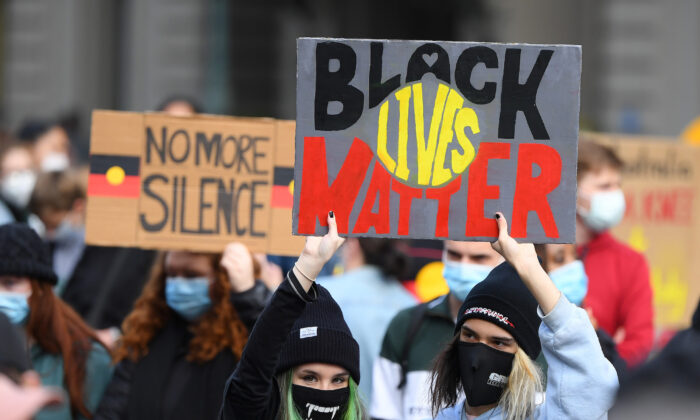 People march in solidarity with protests in the United States in Melbourne, Australia on June 6, 2020. (Quinn Rooney/Getty Images)