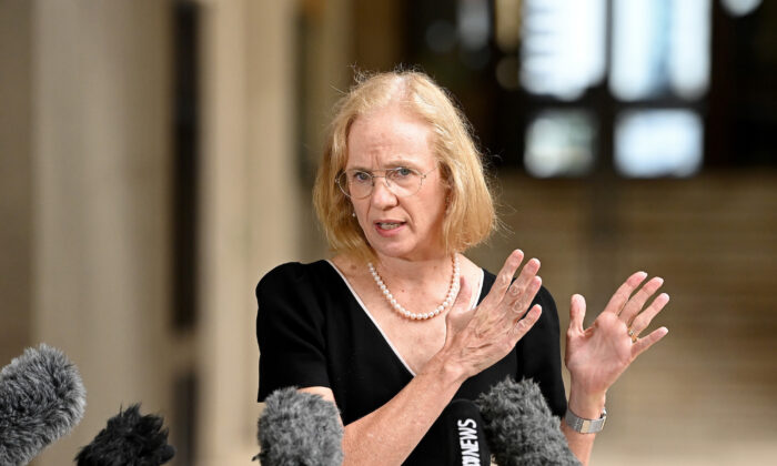 Chief Health Officer of Queensland Doctor Jeannette Young speaks at Parliament House in Brisbane, Australia on March 30, 2021. (Bradley Kanaris/Getty Images)