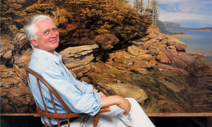 American realist artist Joel Babb seated in front of one of his paintings. (Amazeen)