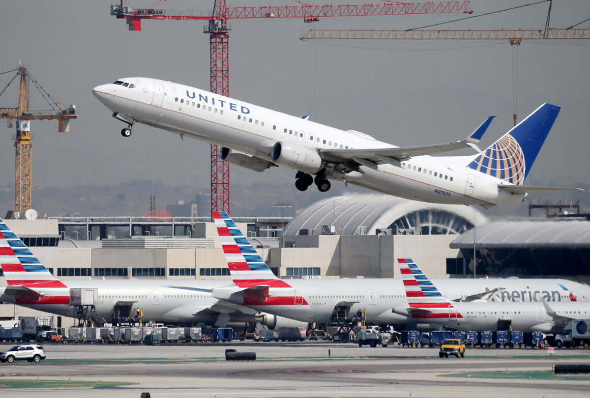 A United Airlines plane takes off