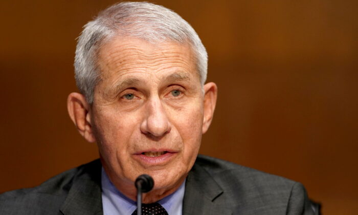 Dr. Anthony Fauci, director of the National Institute of Allergy and Infectious Diseases, gives an opening statement during a Senate Health, Education, Labor and Pensions Committee hearing to discuss the on-going federal response to COVID-19, at the U.S. Capitol in Washington on May 11, 2021. (Greg Nash/Pool via Reuters)