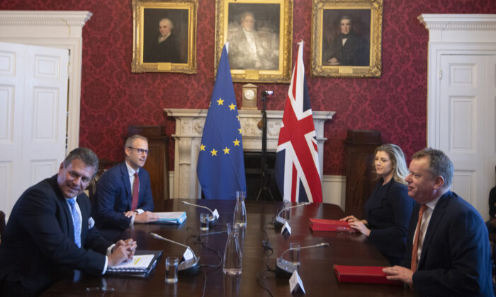 Brexit minister Lord Frost, flanked by Penny Mordaunt, sitting opposite Maros Sefcovic and Richard Szostak, in London on June 9, 2021. (Eddie Mulholland/Daily Telegraph/PA)