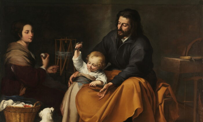 """""""The Holy Family With a Dog,"""" circa 1650, by Bartolomé Esteban Murillo. (Public Domain)"""