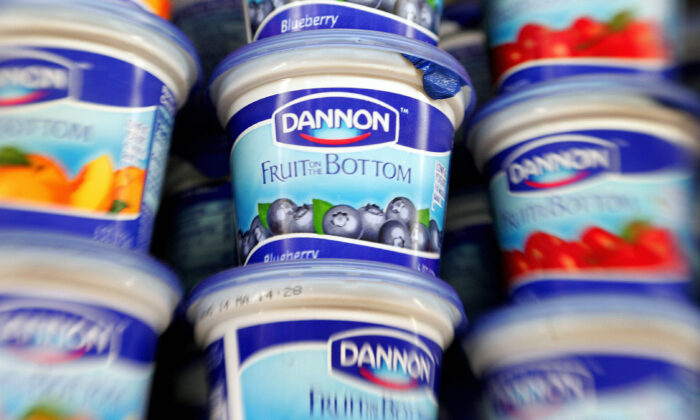 Dannon yogurt waits on a dairy shelve for customers at a grocery store in Centreville, Va., in a file photo. (Paul J. Richards/AFP via Getty Images)