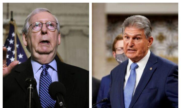 Senate Minority Leader Mitch McConnell (R-Ky.) and Sen. Joe Manchin (D-W.Va.) (Chip Somodevilla/Getty Images; Kevin Lamarque/Reuters)