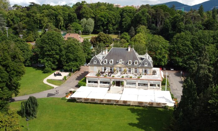This picture taken with a drone shows the Hotel Restaurant des Aux-Vives is pictured in the Eaux-Vives Parc next to La Grange ahead of the June 16 summit between U.S. President Joe Biden and Russian President Vladimir Putin in Geneva, Switzerland, on June 8, 2021. (Denis Balibouse/Reuters)