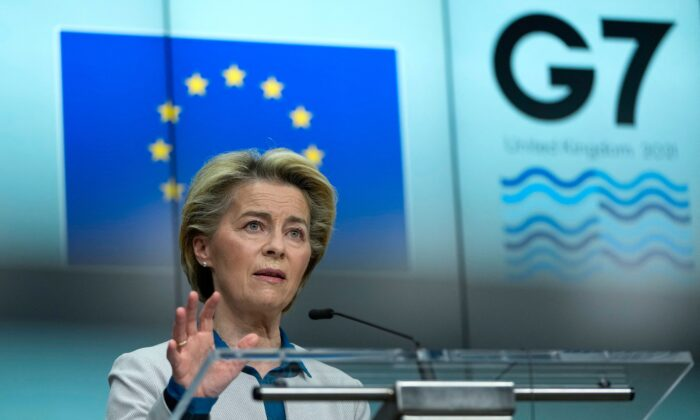 European Commission President Ursula von der Leyen speaks during a joint press conference with European Council President ahead of the G7 summit, at the EU headquarters in Brussels on June 10, 2021. (Francisco Seco /Pool/AFP via Getty Images)