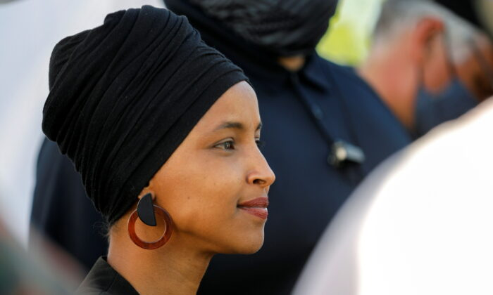 Rep. Ilhan Omar (D-Minn.) attends a concert at George Floyd Square on the first anniversary of Floyd's death, in Minneapolis, Minn., on May 25, 2021. (Nicholas Pfosi/Reuters)