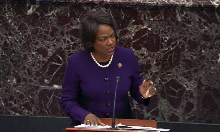 In this screengrab taken from a Senate Television webcast, House manager Rep. Val Demings (D-Fla.) speaks during impeachment proceedings against then-President Donald Trump in the Senate at the U.S. Capitol in Washington on Feb. 3, 2020. (Senate Television via Getty Images)