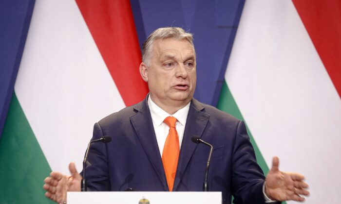 Hungarian prime minister Viktor Orban, speaks during a joint press conference in Budapest, Hungary, on April 1, 2021. (Laszlo Balogh/AP Photo)