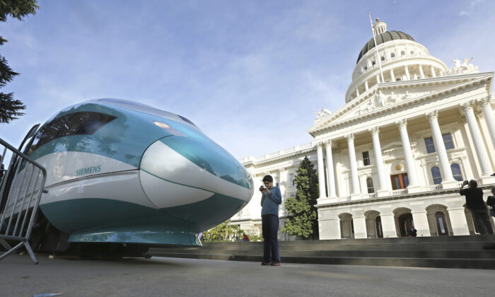 A full-scale mock-up of a high-speed train is displayed at the Capitol in Sacramento, Calif., on Feb. 26, 2015. (AP Photo/Rich Pedroncelli, File)