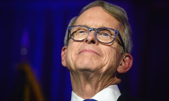 Ohio Gov. Mike DeWine gives his victory speech after winning the Ohio gubernatorial race at the Ohio Republican Party's election night party at the Sheraton Capitol Square in Columbus, Ohio, on Nov. 6, 2018. (Justin Merriman/Getty Images)
