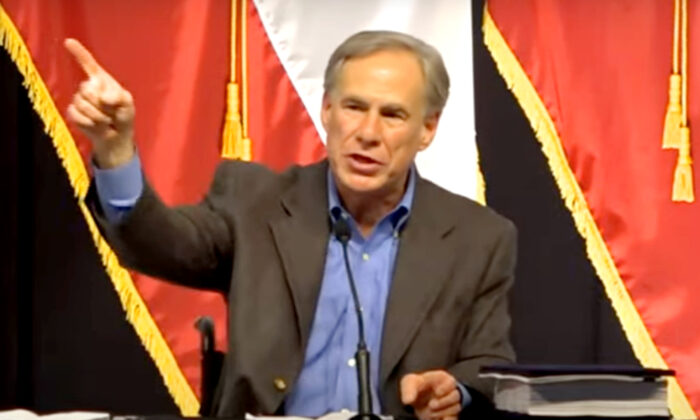 In this still image from a video released by NTD, Texas Gov. Greg Abbott speaks at a border security summit in Del Rio, Texas, on June 10, 2021. (NTD)