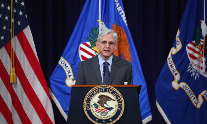 Attorney General Merrick Garland delivers remarks on voting rights at the Department of Justice in Washington on June 11, 2021. (Tom Brenner/Pool via Reuters)
