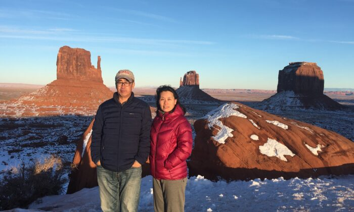 Zhou Deyong and You Ling in Monument Valley in  Navajo County, Ariz., in January 2020. (Courtesy of Zhou You)