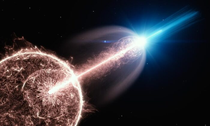 Artist's impression of a relativistic jet of a gamma-ray burst (GRB) breaking out of a collapsing star and emitting very-high-energy photons. (DESY, Science Communication Lab)