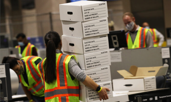 Election workers count ballots in Philadelphia, Penn., on Nov. 4, 2020. (Spencer Platt/Getty Images)