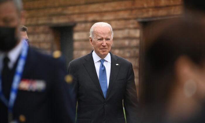 President Joe Biden walks between engagements at the G7 summit in Carbis Bay, Cornwall, Britain, on June 11, 2021. (Leon Neal/Pool via Reuters)