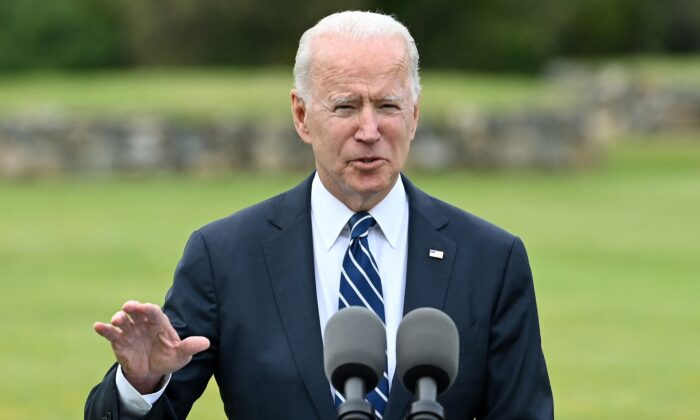 President Joe Biden delivers a speech on the COVID-19 pandemic, in St Ives, Cornwall, England, on June 10, 2021. (Brendan Smialowski/AFP via Getty Images)