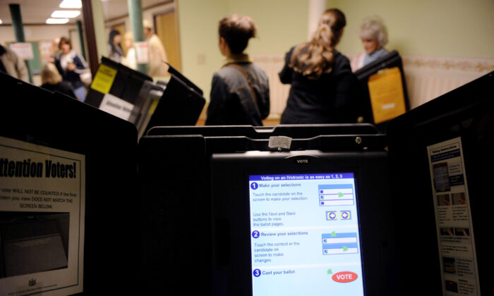 A voting machine is seen at a polling place in Pennsylvania in a file photograph. (Jeff Swensen/Getty Images)