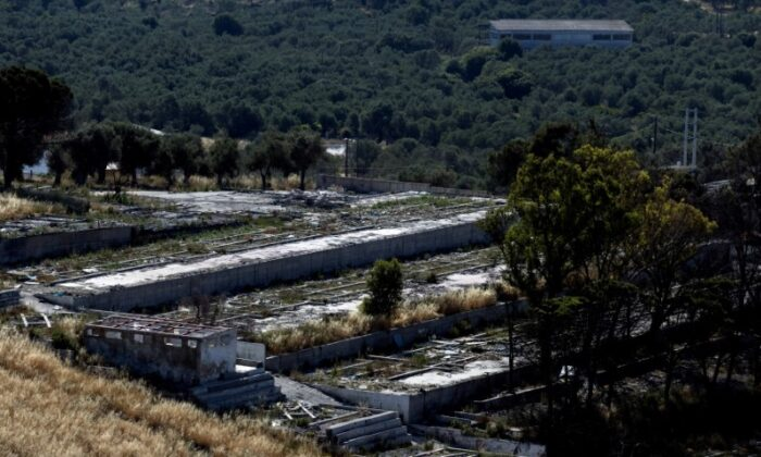 A view of the destroyed Moria camp for refugees and migrants on the island of Lesbos, Greece, on June 3, 2021. (Alkis Konstantinidis/Reuters)