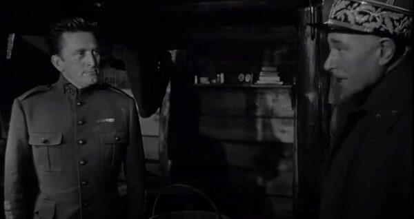 Kirk Douglas and George Macready in Paths of Glory