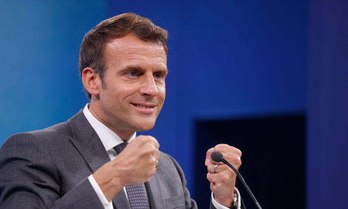 France's President Emmanuel Macron takes part in a press conference on the final day of the G7 summit in Carbis Bay, Cornwall on June 13, 2021. (Ludovic Marin/AFP via Getty Images)