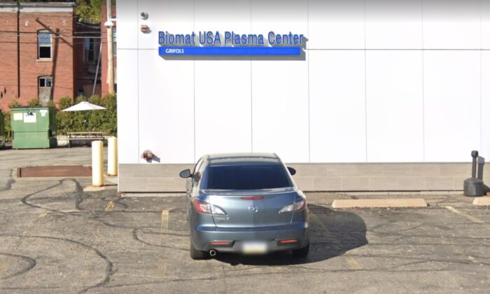 A street view of the Biomat USA Plasma Center in Pittsburgh, Pa., in November 2020. (Google Maps)