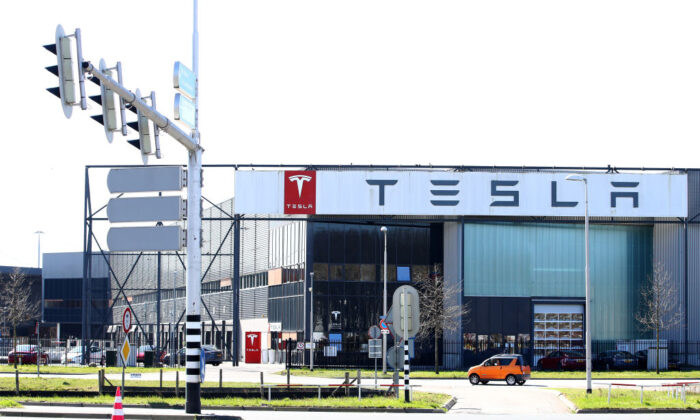 A general view of the Tesla Assembly plant building which also does vehicle delivery and has a service centre in Tilburg, Netherlands, on March 29, 2021. (Dean Mouhtaropoulos/Getty Images)