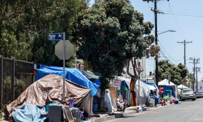 A homeless encampment in Venice Beach, Calif., on June 8, 2021. (John Fredricks/The Epoch Times)