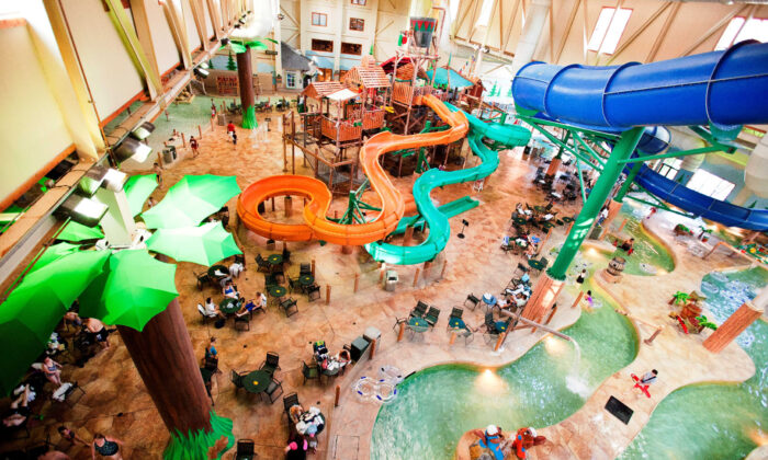 The water park at Great Wolf Lodge in Williamsburg, Va., is possibly its most outstanding attraction. (Courtesy of Great Wolf Lodge)