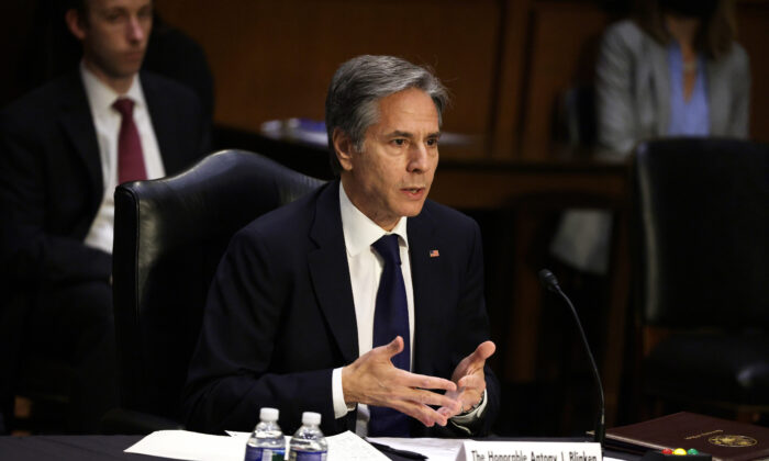 Secretary of State Antony Blinken testifies during a hearing before Senate Foreign Relations Committee at Hart Senate Office Building on Capitol Hill in Washington, on June 8, 2021. (Alex Wong/Getty Images)