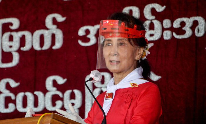 Aung San Suu Kyi attends the 32nd anniversary of the National League for Democracy (NLD) in Naypyidaw, Burma, on Sept. 27, 2020. (Thet Aung/AFP via Getty Images)