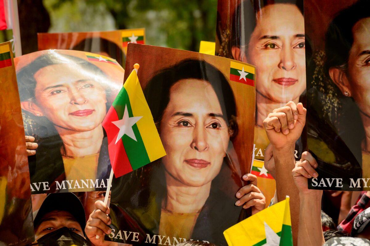 A protester in Burma