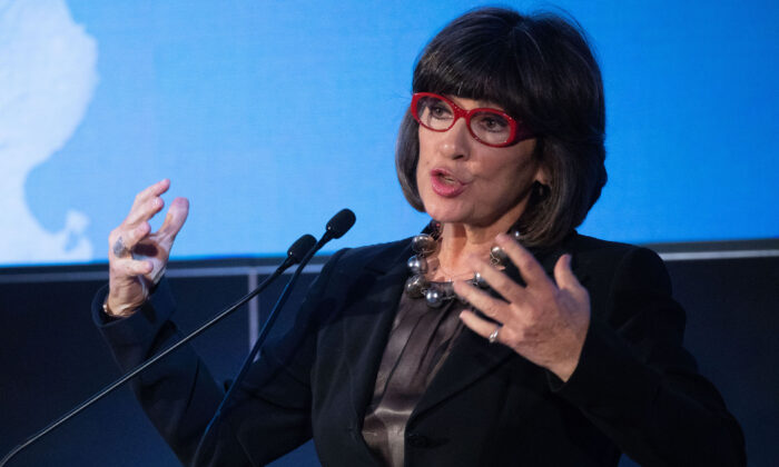 Christiane Amanpour delivers a speech during an event in which German Chancellor Angela Merkel was awarded the J. William Fulbright Prize for International Understanding in Berlin, Germany, on Jan. 28, 2019. (Omer Messinger/Zuma Press/TNS)