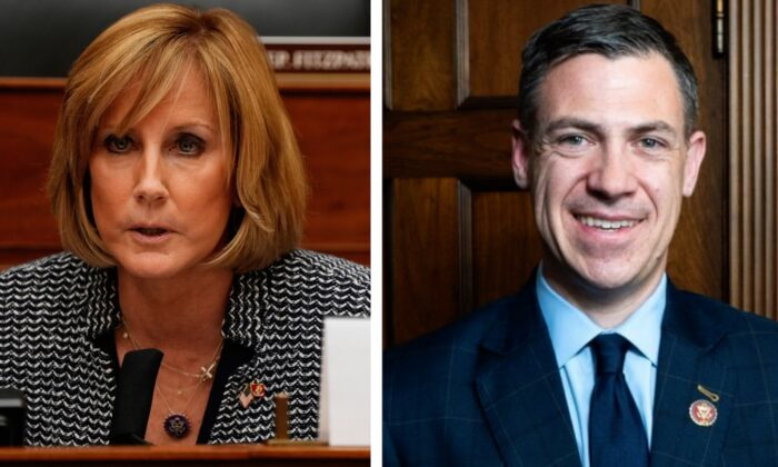 Rep. Claudia Tenney speaks in Washington on March 10, 2021. (Ken Cedeno-Pool/Getty Images) Rep. Jim Banks (R-Ind.) on Capitol Hill in Washington on March 27, 2019. (York Du/NTD)