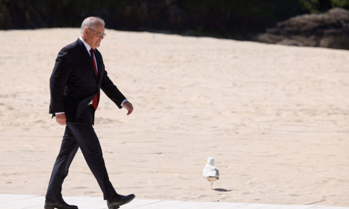 Australia's Prime Minister Scott Morrison arrives at the G7 summit in Carbis Bay, Cornwall on Jun. 12, 2021. (Photo by LUDOVIC MARIN/AFP via Getty Images)