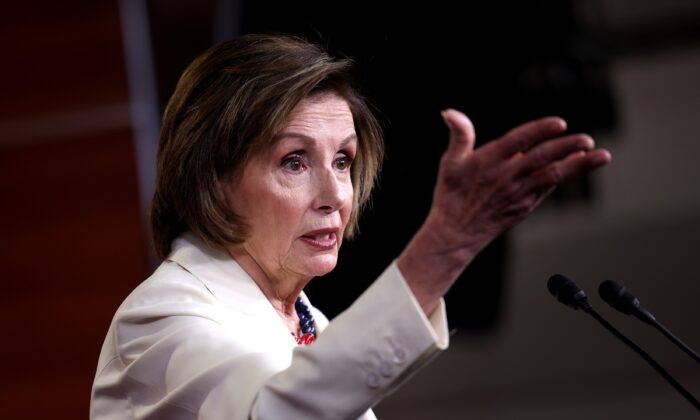 House Speaker Nancy Pelosi (D-Calif.) holds her weekly press conference at the U.S. Capitol in Washington on May 20, 2021. (Kevin Dietsch/Getty Images)